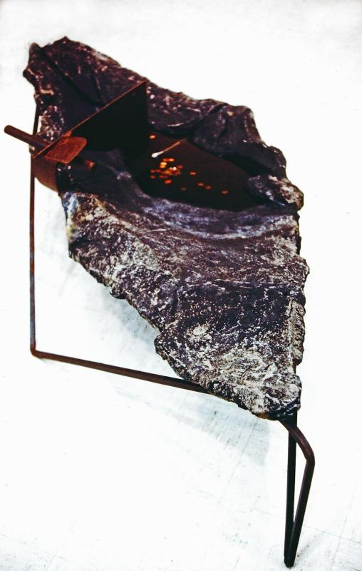 """Bird Bath"" - 25"" x 37"" x 98"". Corten, stainless & mild steel, concrete. water. 1987 Sculpture no longer in existence."