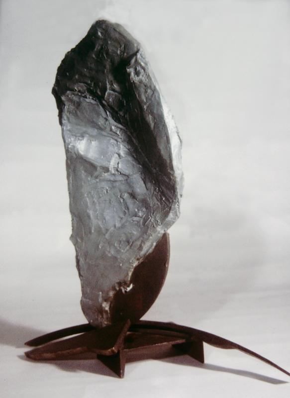 """Untitled"" - steel, zinc agregate concrete, 18"" tall 1996 Private collection. North Carolina"